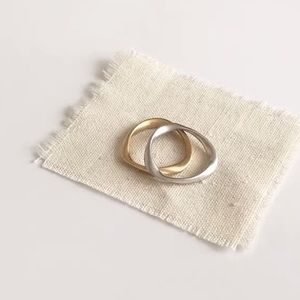 Stackable twisted ring in 925 silver / plated gold